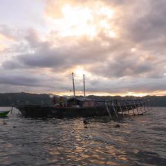 Pinisi Charter vessel and luxury liveaboard WAOW cruising, sailing and scuba diving in Indonesia Raja Ampat, Papua Barat, Moluccas, Seram sea,Triton Bay, Kaimana and Ambon. Bagan - local fishing platform