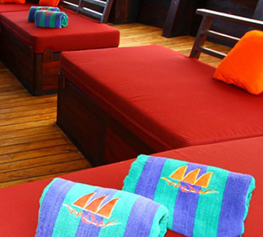 Facilities onboard MSY WAOW liveaboard to enhance your comfort : sundecks, wellness, watersports, scuba diving ...